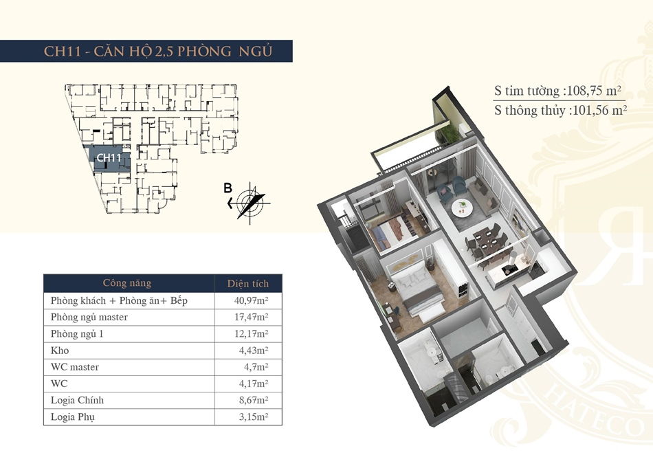 thiết kế chung cư hateco la roma ch11