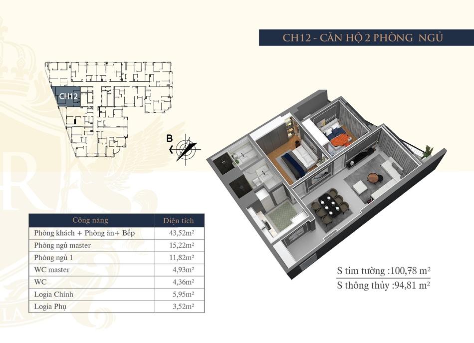 thiết kế chung cư hateco la roma ch12