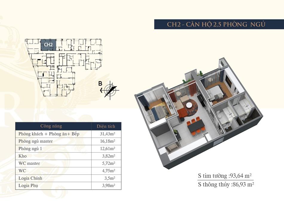 thiết kế chung cư hateco la roma ch2