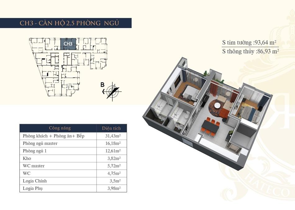 thiết kế chung cư hateco la roma ch3
