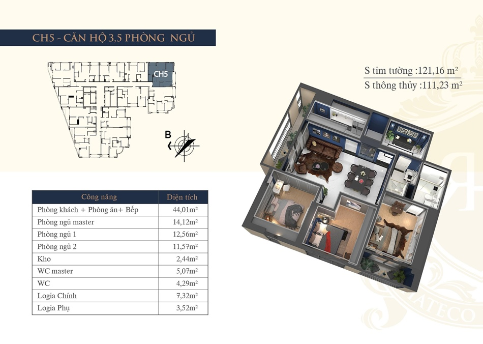 thiết kế chung cư hateco la roma ch5