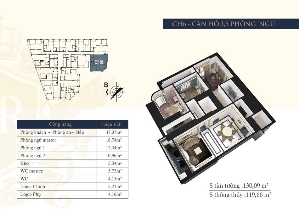 thiết kế chung cư hateco la roma ch6