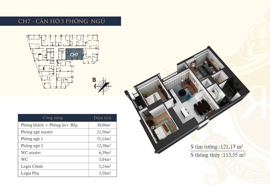 thiết kế chung cư hateco la roma ch7