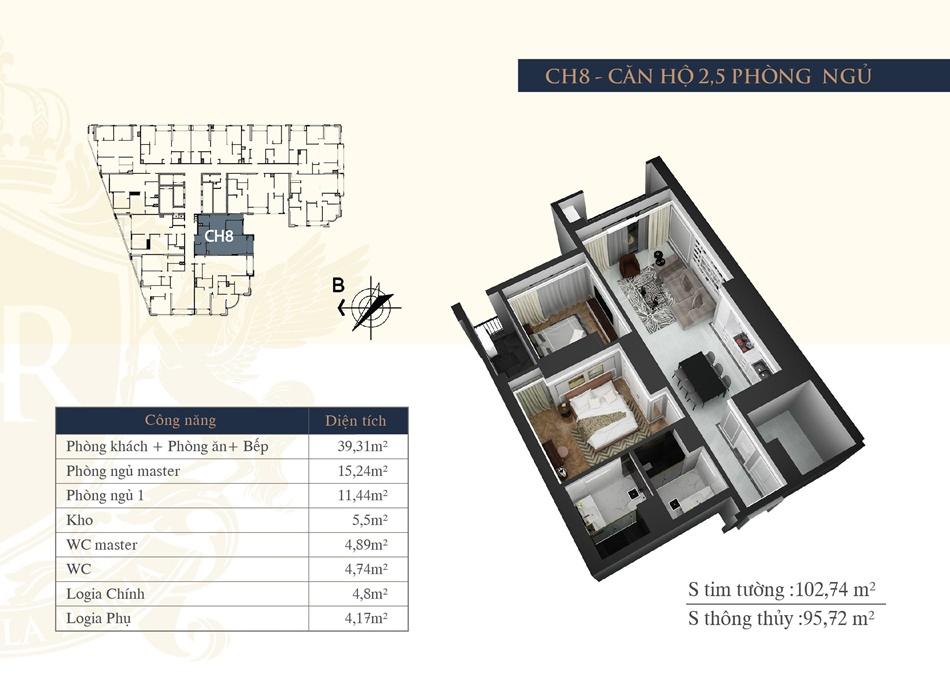 thiết kế chung cư hateco la roma ch8