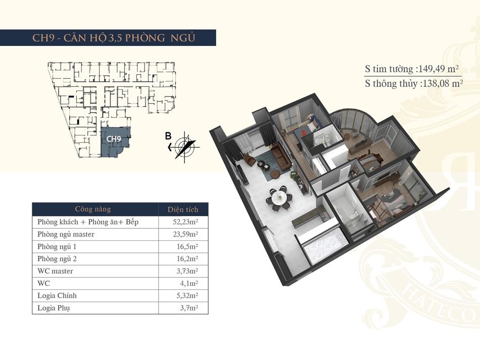 thiết kế chung cư hateco la roma ch9
