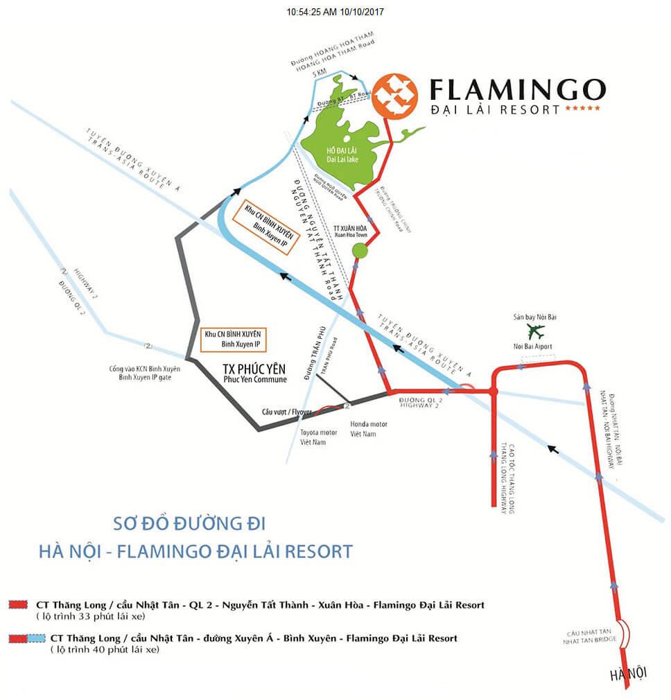 hướng đi đến flamingo the gallery đại lải