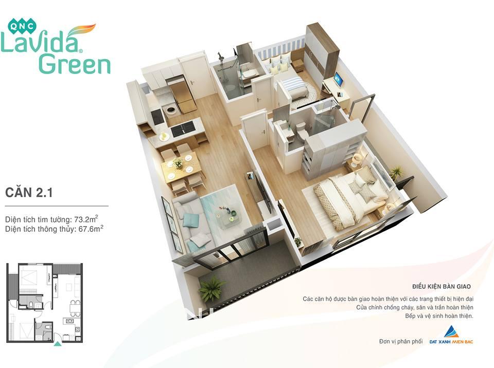 thiết kế căn hộ 2.1 lavida green phố nối