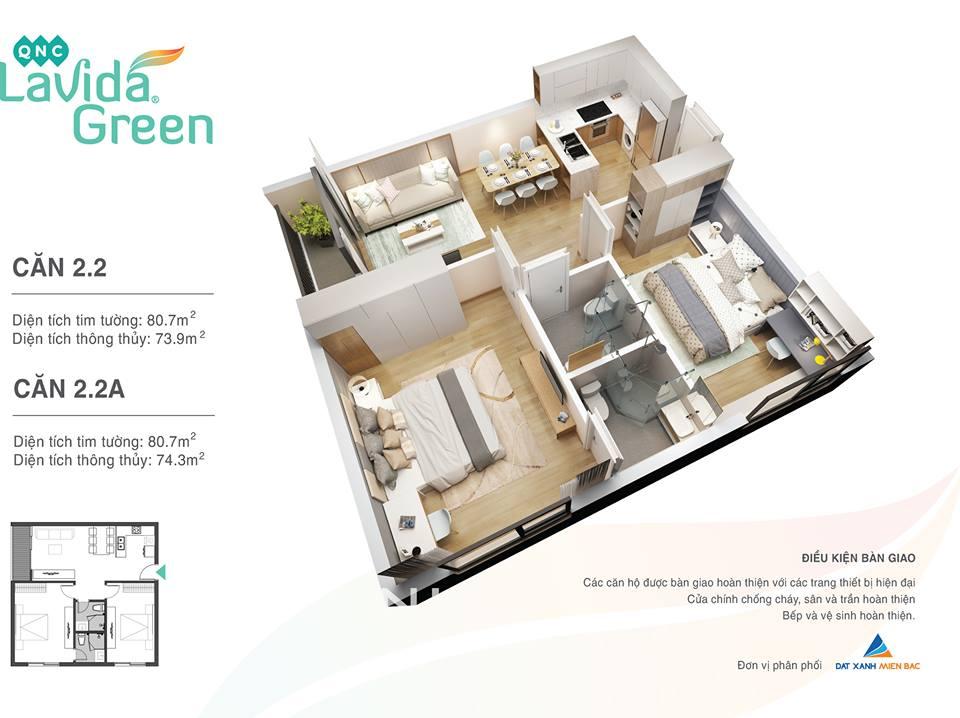 thiết kế căn hộ 2.2 lavida green phố nối