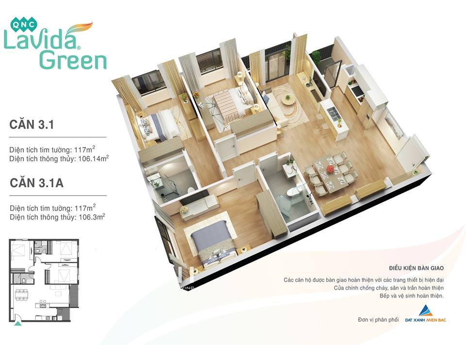 thiết kế căn hộ 3.1 lavida green phố nối