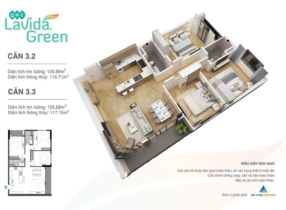 thiết kế căn hộ 3.2 lavida green phố nối