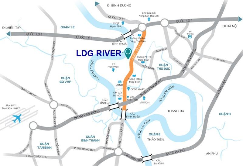 vị trí dự án ldg river thủ đức