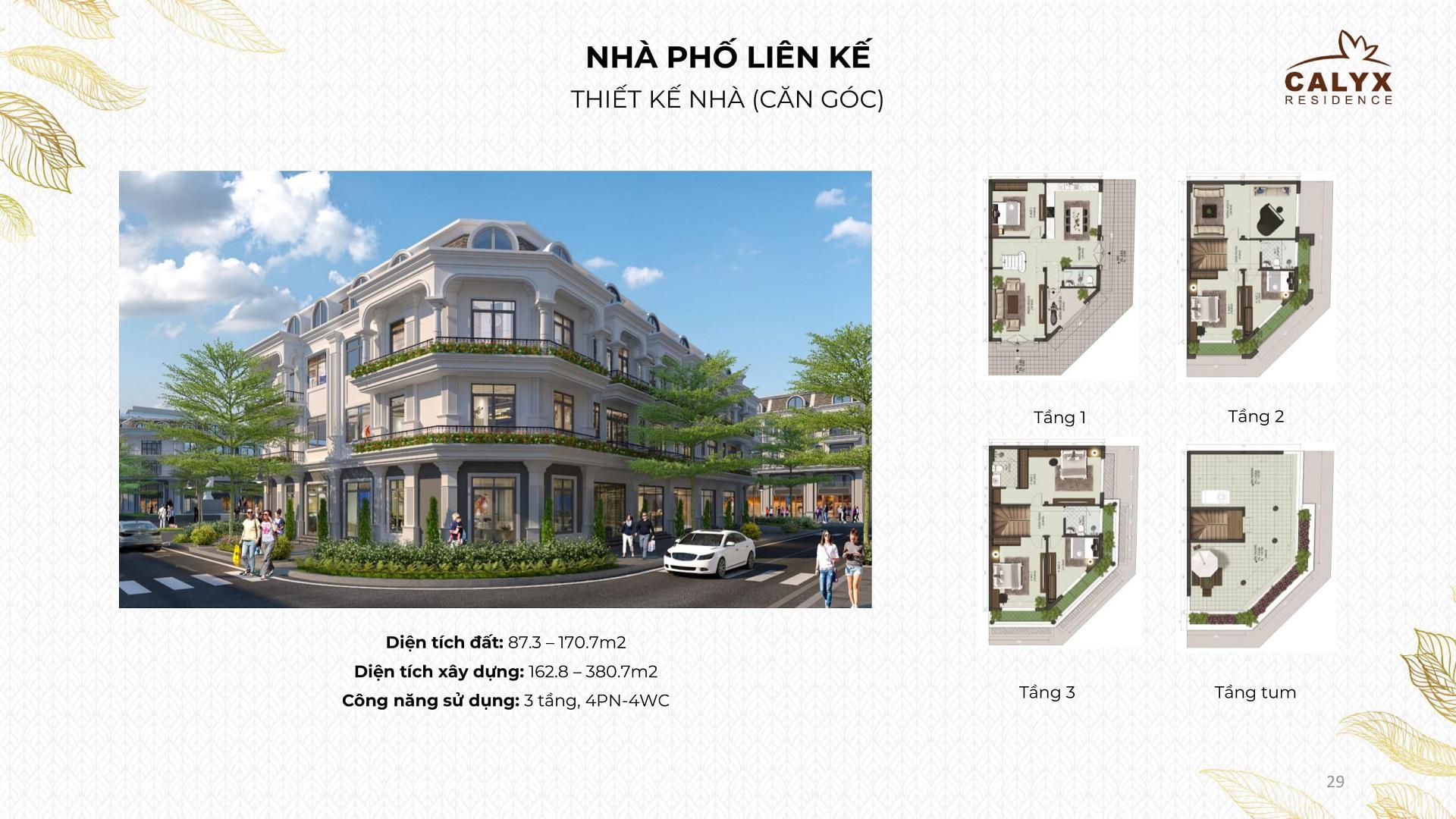 thiết kế liền kề calyx residence lô góc