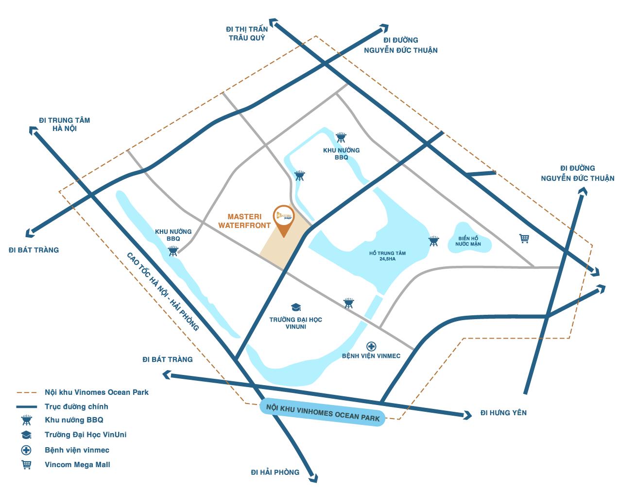 liên kết vùng dự án masteri waterfront