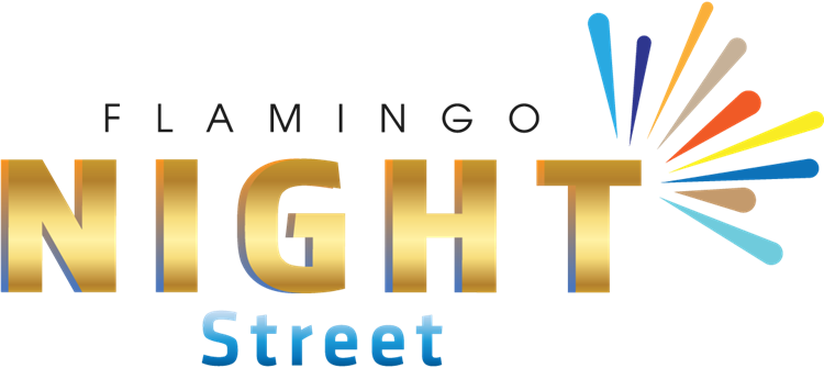 logo flamingo night street