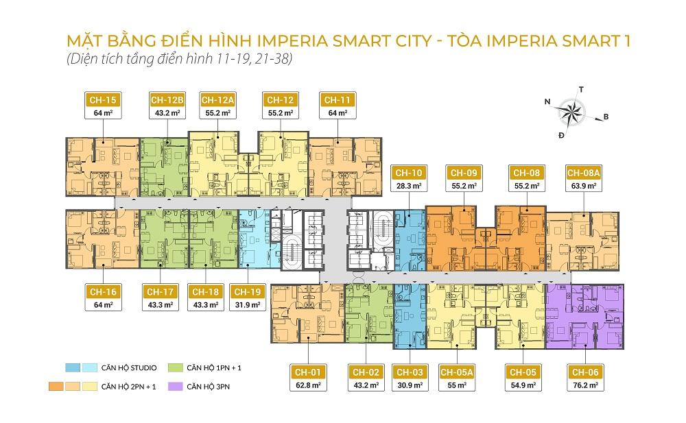 Mặt bằng chung cư Imperia Smart City tòa IS1