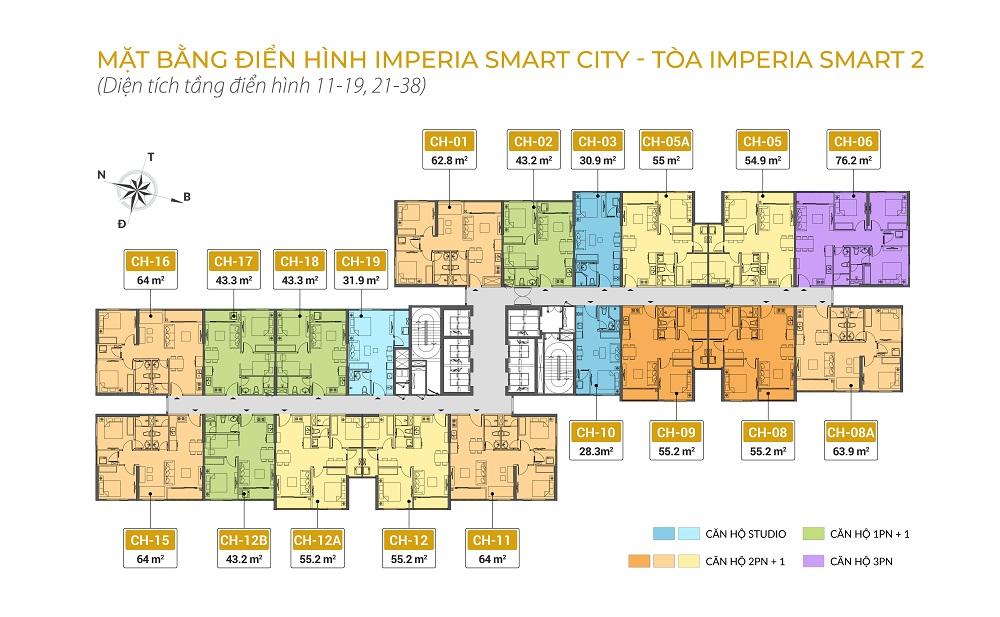 Mặt bằng chung cư Imperia Smart City tòa IS2