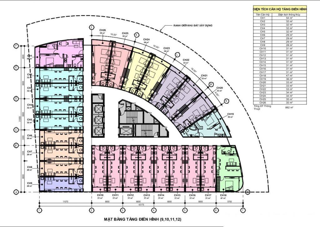 mặt bằng apec mandala wyndham hải dương tầng 9 - 12