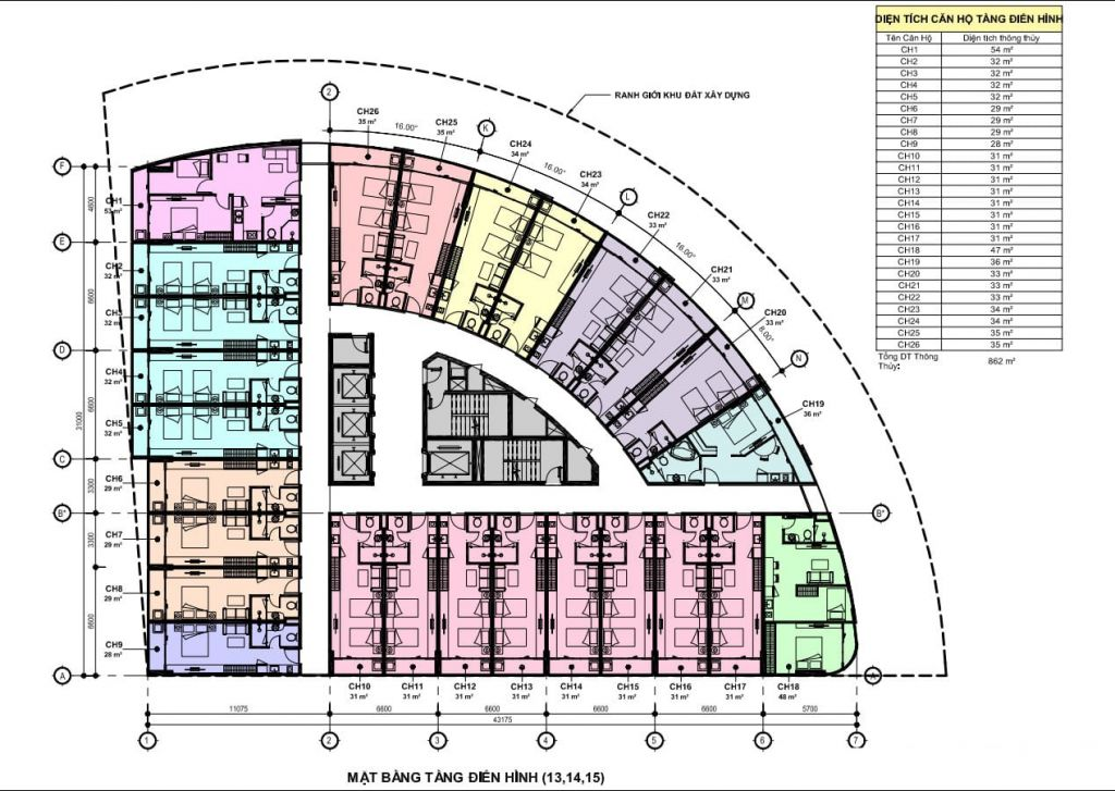 mặt bằng apec mandala wyndham hải dương tầng 13 - 15