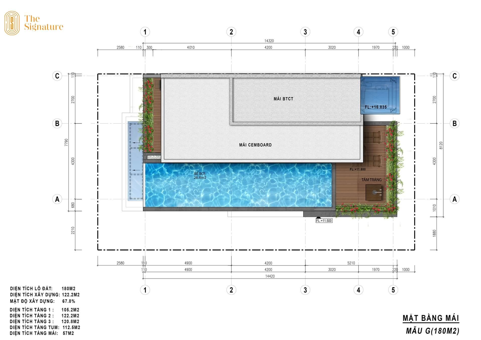 mặt bằng tầng mái biệt thự the signature loại 180m2