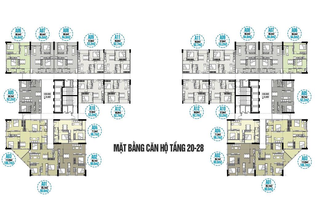 mặt bằng chung cư tecco skyville tower tầng 20 đến 28