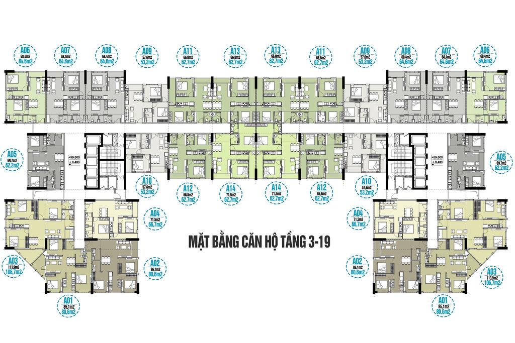 mặt bằng chung cư tecco skyville tower tầng 3 đến 19