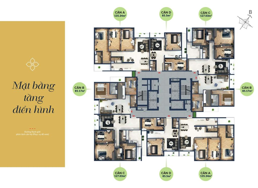 mặt bằng tầng điển hình chung cư bohemia residence số 2 lê văn thiêm