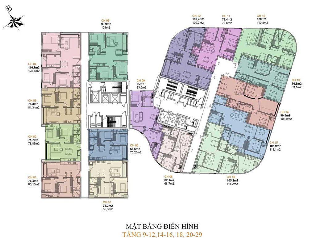 mặt bằng chung cư manhattan tower tầng 9 - 12, 14 - 16, 18, 20 - 29