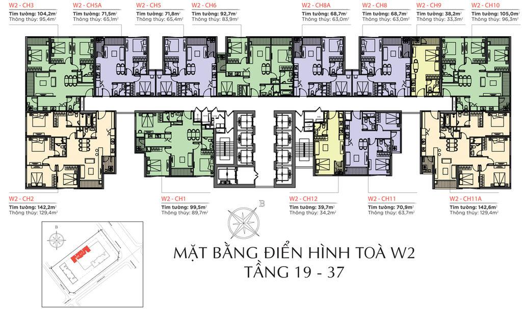 mặt bằng chung cư vinhomes west point tòa w2 tầng 19 - 37