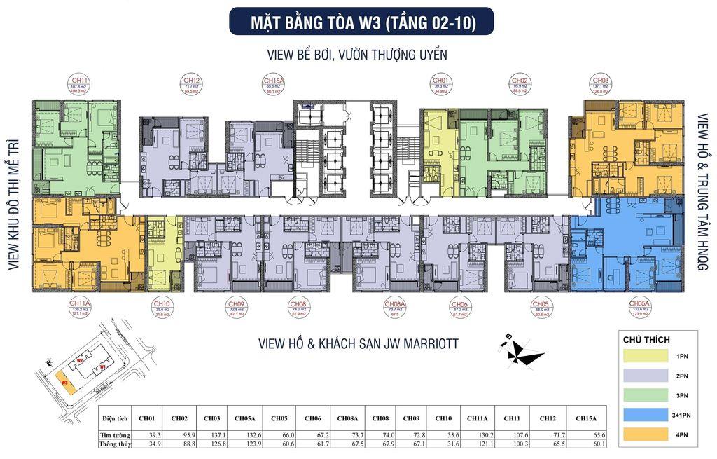 mặt bằng chung cư vinhomes west point tòa w3 tầng 2 -10