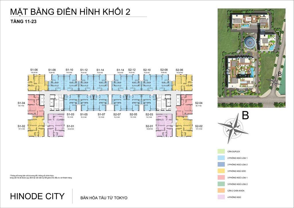mặt bằng chung cư hinode city tòa h2 tầng 11 - 23