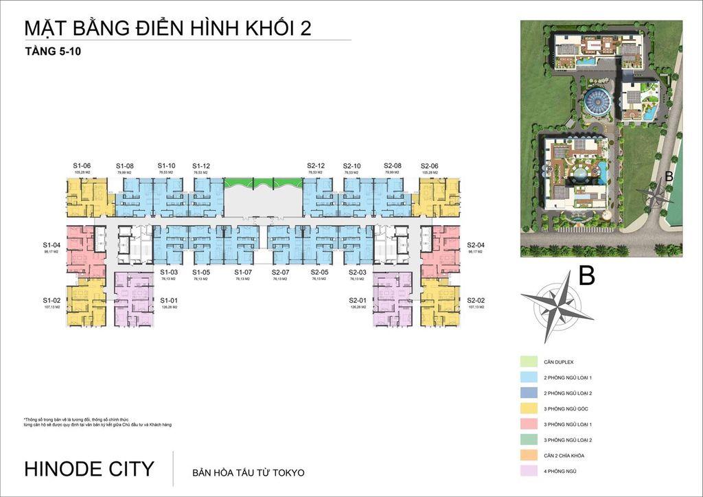 mặt bằng chung cư hinode city tòa h2 tầng 5 - 10