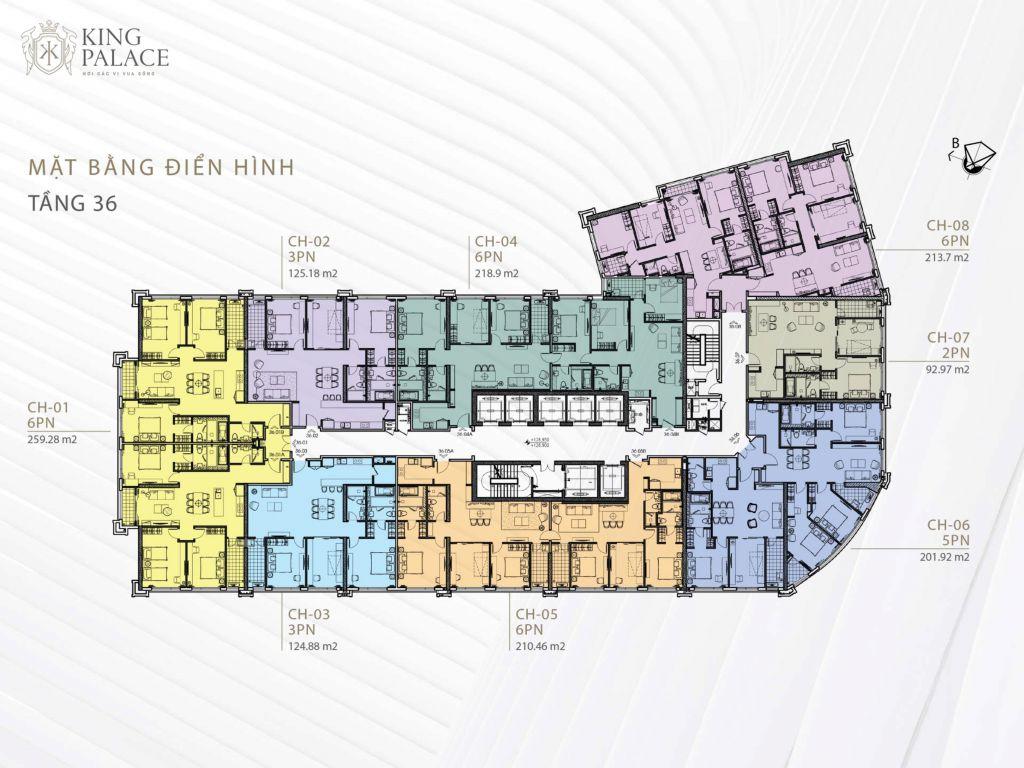 mặt bằng chung cư king palace tầng 36