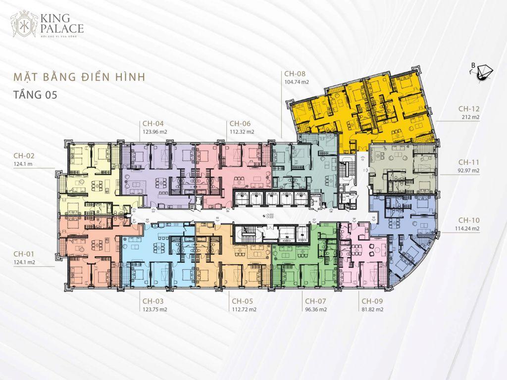 mặt bằng chung cư king palace tầng 5