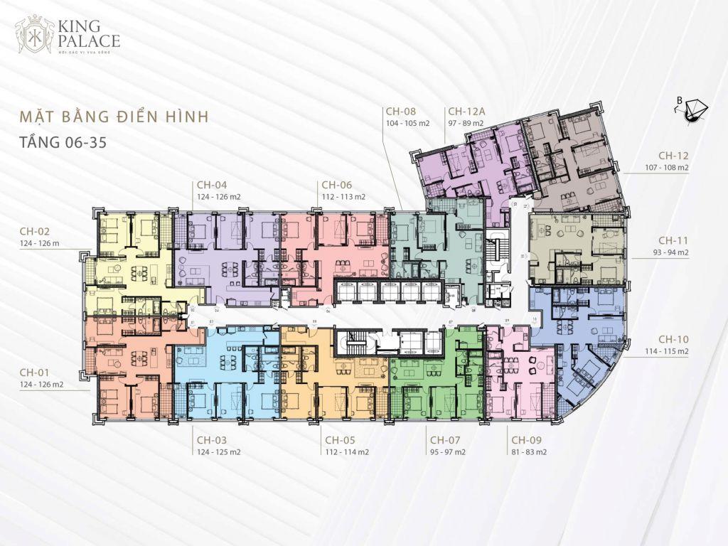 mặt bằng chung cư king palace tầng 6 - 35