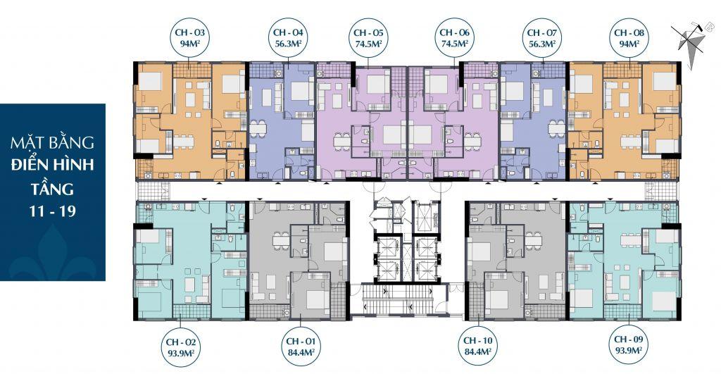 mặt bằng dự án le capitole 27 thái thịnh tầng 11 - 19