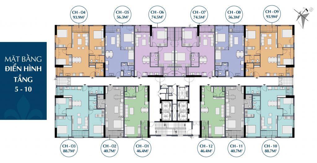 mặt bằng dự án le capitole 27 thái thịnh tầng 5 - 10