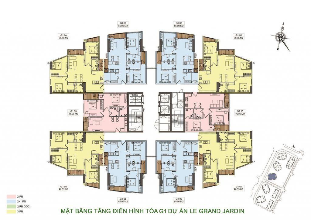 mặt bằng dự án le grand jardin tòa g1