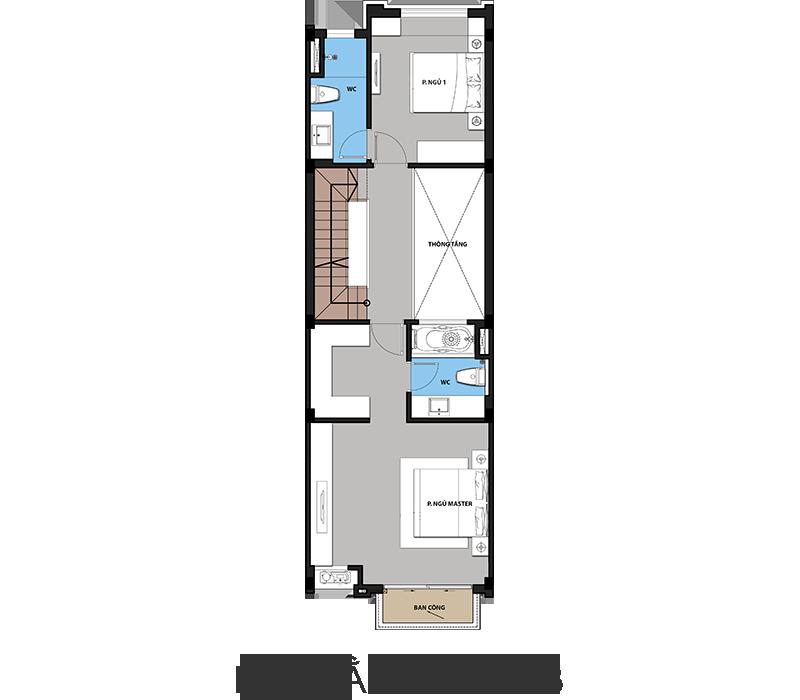 mặt bằng tầng 3 liền kế hateco 6 xuân phương