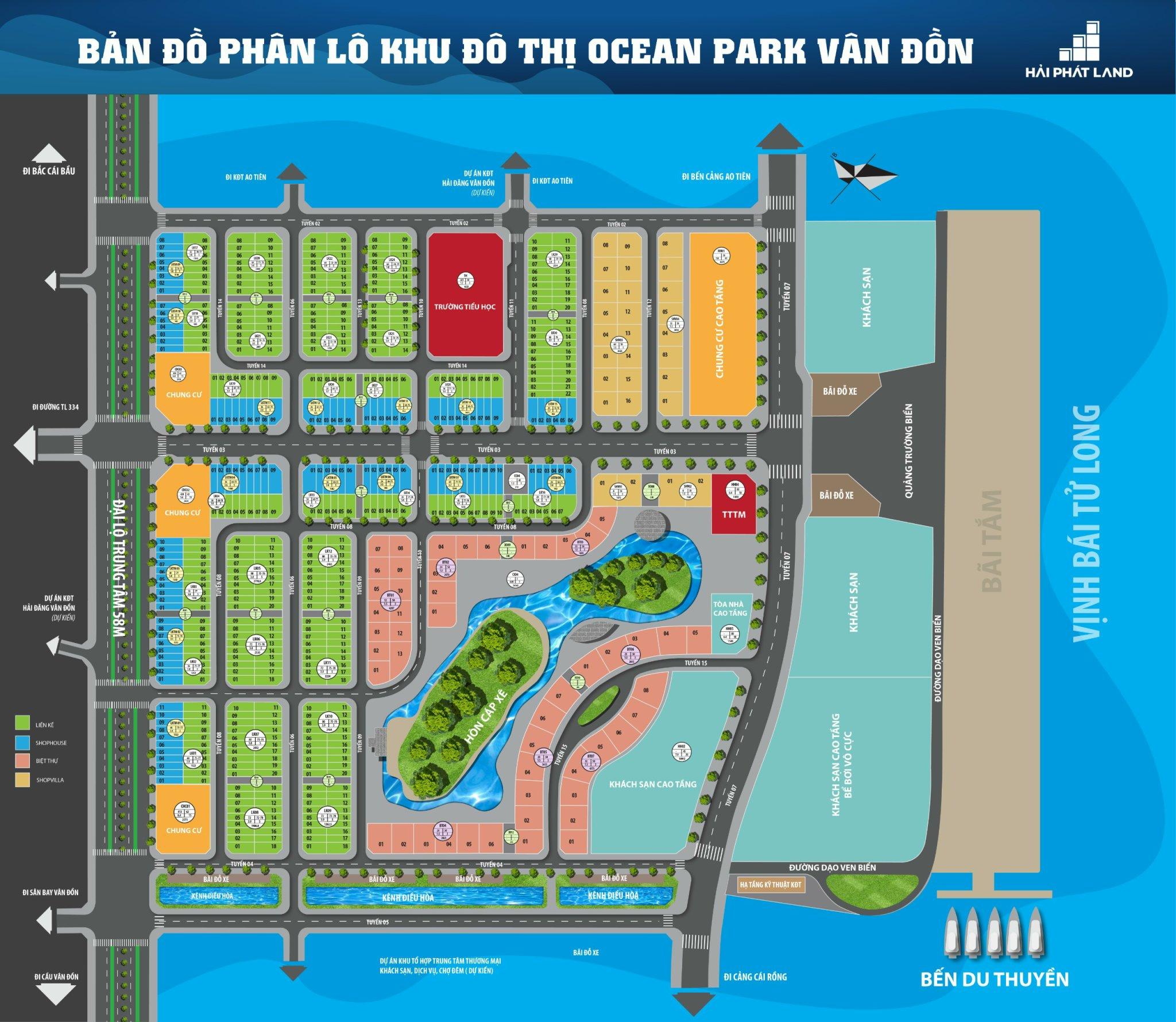 mặt bằng dự án ocean park vân đồn