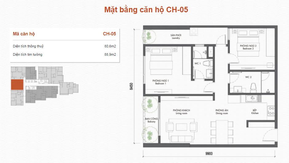thiết kế chung cư premier berriver căn 05
