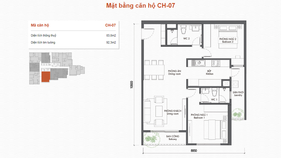 thiết kế chung cư premier berriver căn 07