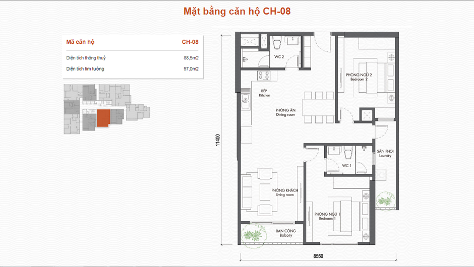 thiết kế chung cư premier berriver căn 08