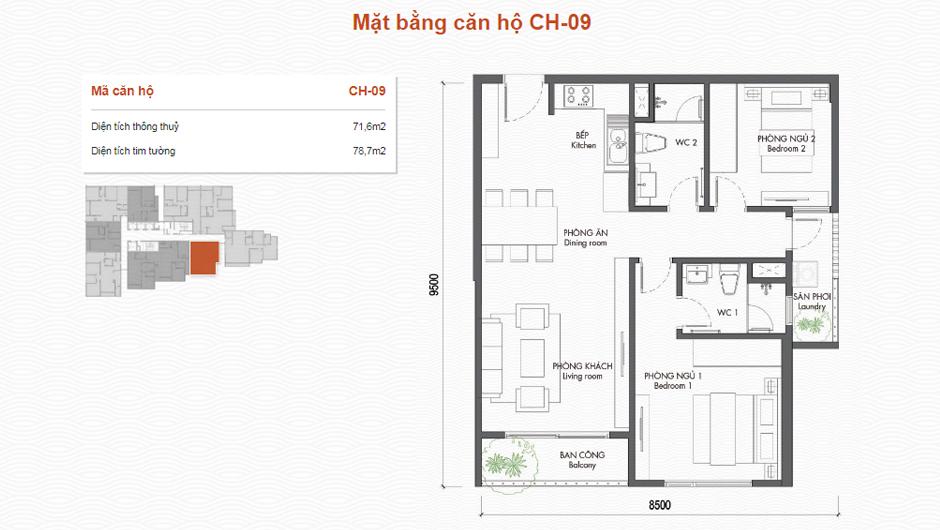 thiết kế chung cư premier berriver căn 09