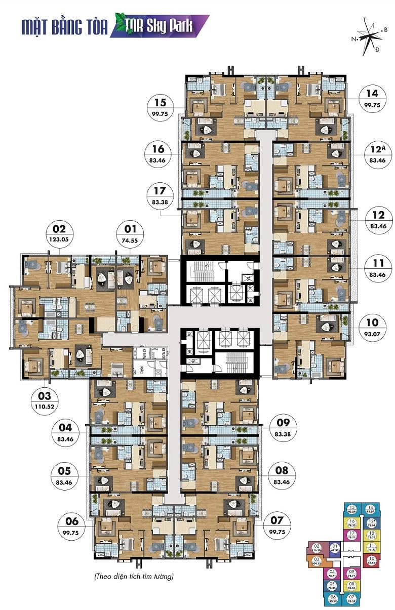 mặt bằng chung cư tnr sky park 136 hồ tùng mậu