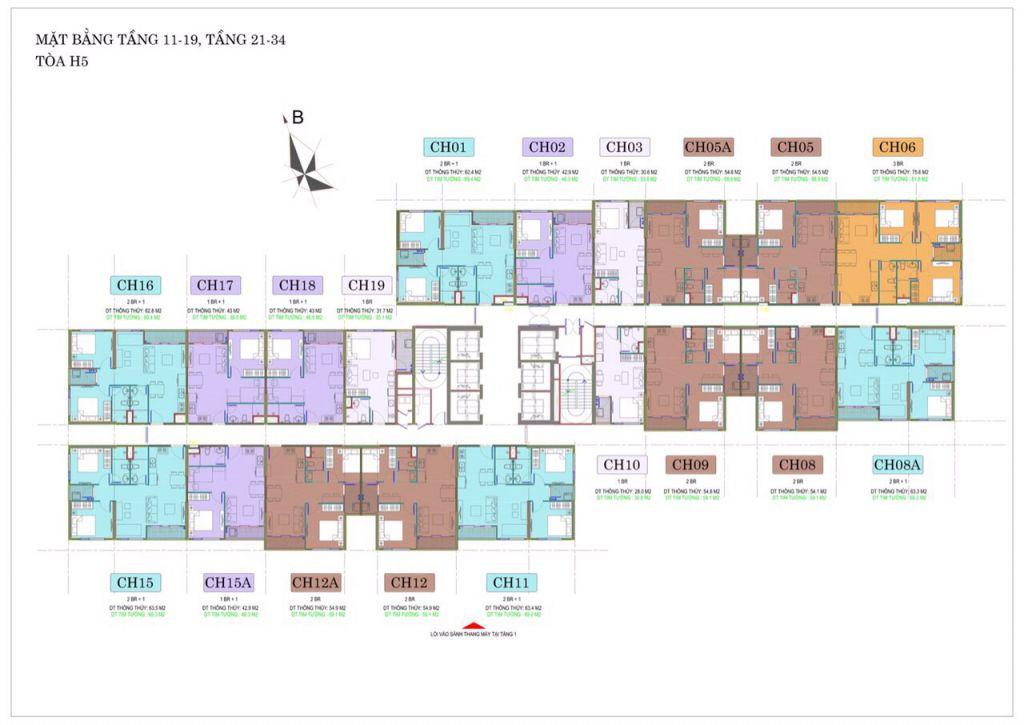 mặt bằng tòa h5 vincity sportia tầng 11 - 19 và 21 - 34