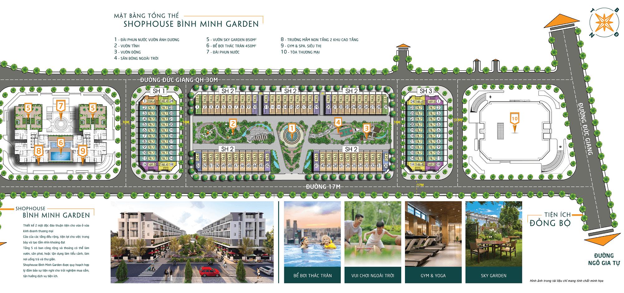 mặt bằng tổng thể dự án bình minh garden 93 đức giang