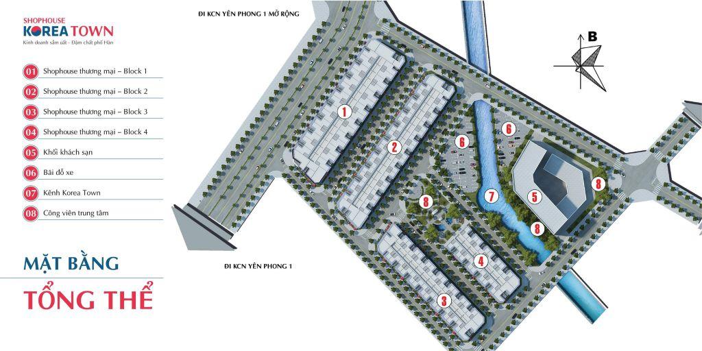mặt bằng tổng thể dự án korea town