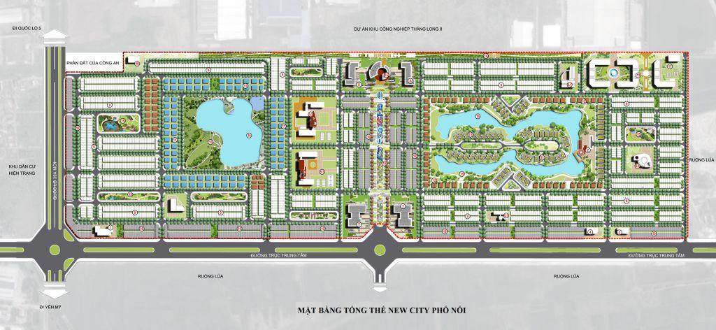 mặt bằng tổng thể dự án new city phố nối