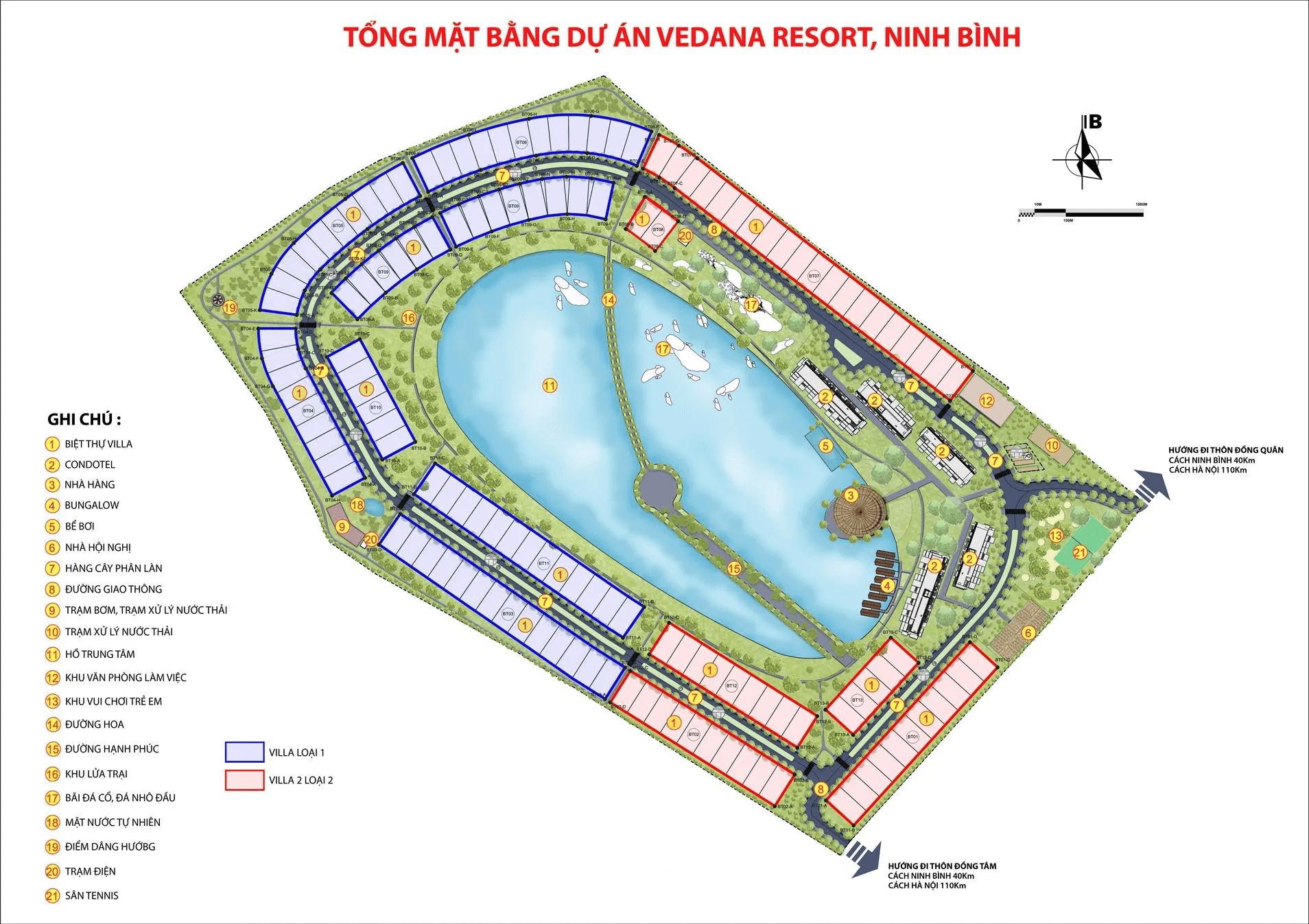 mặt bằng dự án vedana resort