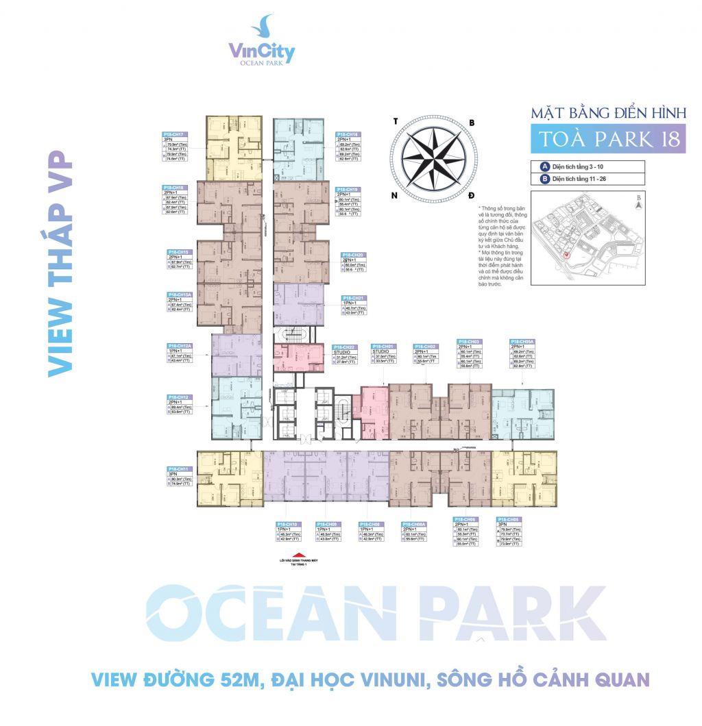 mặt bằng vincity ocean park tòa park 18